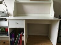 Large white desk with drawer/storage space