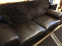 Leather 3 seater sofa. Dark brown/ chocolate Open to offers