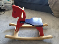 Small wooden rocking horse for toddler