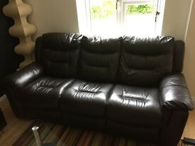 Brown leather reclining sofas in very good condition
