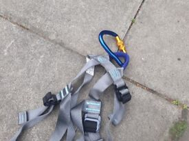 Assorted Beal Harnesses and Climbing rope