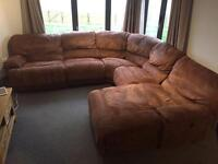 SETTEE SOFA CORNER LARGE FAUX SUEDE BROWN £50 ONO