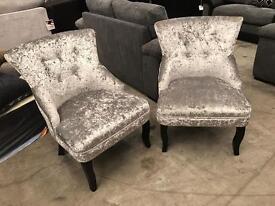 Brand new pair of genuine crush velvet retro chairs