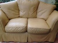 Beautiful well loved yellow 2 seater Leather Sofa & Foot Stool with storage compartment