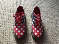 Red, white & blue spotty Doc Martens shoes BRAND NEW Size 5