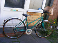 "LADIES RALEIGH BIKE WITH NEW FITTED BASKET 18"" FRAME in great working order"