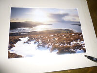 Mounted photo isle of Harris looking down estuary forming Luskentyreye