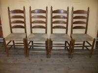 Set 4 Oak ladder Back Chairs & Polished Pine Oblong Dining Table