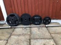 115kg Olympic Rubber Weights & Barbell Set. •Can Deliver•