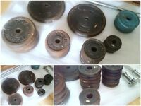 73kg Cast Iron Weight Discs + 2x Barbell & 2x Dumbbell Bars