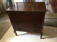 Antique chest of drawers, solid oak, tongue and groove