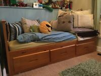 Single storage bed with or without memory foam mattress only 1 year old