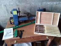 "Clarke 13"" mini wood lathe with extras"