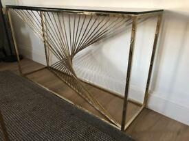 Terano Gold Twisted Metal and Glass Top Console Table