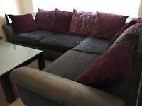 Purple and grey corner sofa for sale