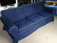 Blue 3 Seater Sofa in Good Condition