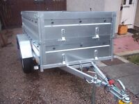 Trailer twin axle, double broadside flat cover free