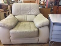 Leather Sofa Set with Pouffe