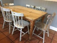 Pine tables and six chairs shabby chic
