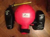 Pair of Pro LEATHER THAI Boxing PADS: Red for kicking and punching sold with free mitts