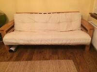 Solid Wooden 3 Seater Sofa Bed with Mattress