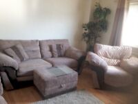 2 x 3 seater sofa with matching armchair and footstool