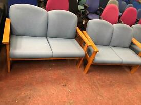 Blue 2 Seater Sofa - Beech Arms