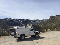 DISCOVER THE JOYS OF WILD CAMPING! white Land Rover Defender TDi, 1995, 114,000 miles