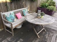 Garden Bench, Table and deck chairs