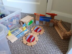 Wooden train set plus other vehicles