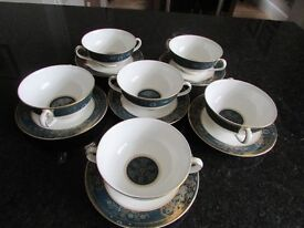 Royal Doulton Carlyle. Set of Six Fine Bone China Soup Coupes & Saucers £60 Located in Blurton.
