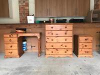 Set of three pine bedroom furniture items