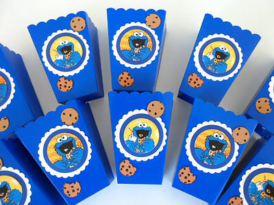 Party Favor Popcorn Boxes (Cookie Monster Party Favors/popcorn/candy boxes/ birthday/ baby shower SET OF)