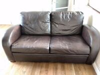 Brown leather sofa with fold-out bed - FREE - Must be collected on Thu 30th March only