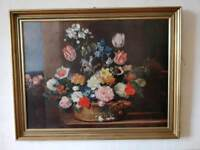 Beautiful floral painting (print on wood)
