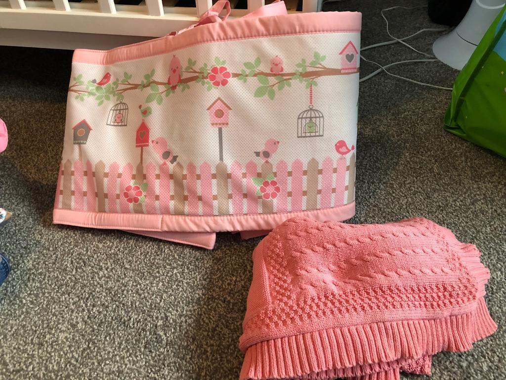 Breathable cot bumper girls pink & mothercare blanket