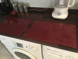 Pair of Large Glass Chopping Boards