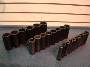 Snap-on jeu de douilles impact longues 1/2'' metrique 24 pièces. -- 171609
