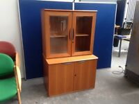 CHERRY 2 PIECE OFFICE SIDEBOARD, STATIONERY CUPBOARD, FILING CABINET etc