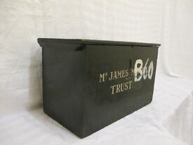 VINTAGE WOODEN DEED BOX STORAGE CHEST FREE DELIVERY