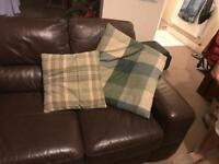 Chocolate leather suite - 2 seater, 3 seater and footstool