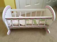 Wooden dolls cot with matching bedding