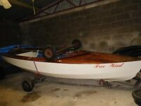 Wayfarer Sailing Dinghy. Sail Number 2335. Spinnaker, Launch Trolley & Trailer. Good condition.