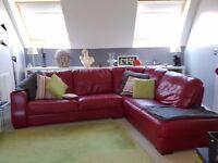 Fabulously comfy Italian Leather Corner Sofa, Deep Red