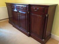 Large Mahogany Regency style Breakfront Sideboard ~ 3 drawers & cupboards - VGC
