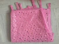 Pink tab top curtain panel - sequinned