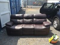 DFS Pellissima three seater Dark chocolate x 2 leather recliner sofas RRP £1295