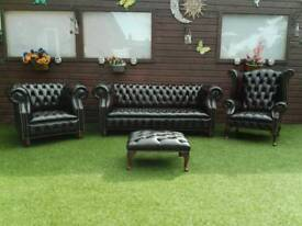 CHESTERFIELD SUITE IN BROWN ANTIQUE LEATHER