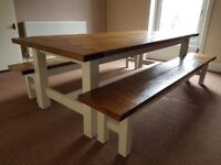 Solid Wood 10-12p Dining Table & Benches