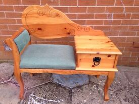 Solid Pine Telephone table with seat